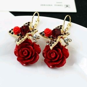 Betsey Johnson Red ROSE Earrings Drop Dangle NEW